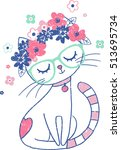 Stock vector cute cat with floral crown vintage illustration 513695734