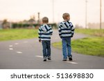 two little children  boy... | Shutterstock . vector #513698830