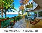wooden walkout deck with... | Shutterstock . vector #513706810