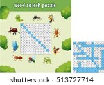 word search puzzle about bugs... | Shutterstock .eps vector #513727714