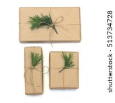 eco style gift wrapping. three...   Shutterstock . vector #513734728