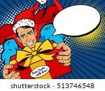 pop art christmas man. young... | Shutterstock .eps vector #513746548
