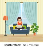 happy young woman is relaxing... | Shutterstock .eps vector #513748753