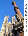 Small photo of LONDON, UK: Westminster Abbey and scholars war memorial column