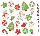 set of christmas cookies vector ... | Shutterstock .eps vector #513761503