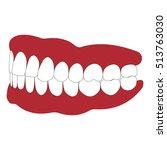 dentures with white teeth ... | Shutterstock .eps vector #513763030
