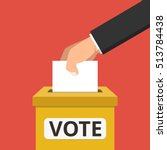 voting concept. hand putting... | Shutterstock .eps vector #513784438
