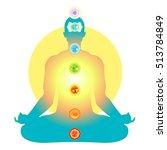 man sitting in lotus position...   Shutterstock .eps vector #513784849