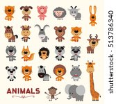 Stock vector big set funny animals vector collection isolated animals cute animals forest asia africa farm 513786340