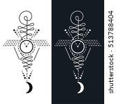 unalome   lotus sacred symbol  | Shutterstock .eps vector #513788404