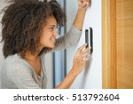 woman controlling home...   Shutterstock . vector #513792604