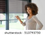 woman at home controlling... | Shutterstock . vector #513793750