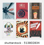 movie retro posters and flyers... | Shutterstock .eps vector #513802834