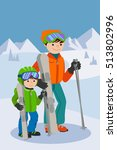 father and son skiing in snow...   Shutterstock .eps vector #513802996