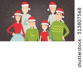 christmas family portrait.... | Shutterstock .eps vector #513807568