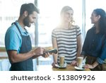 customer making payment through ... | Shutterstock . vector #513809926