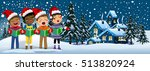 multicultural kids wearing xmas ... | Shutterstock .eps vector #513820924