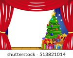 blank frame on stage with... | Shutterstock .eps vector #513821014