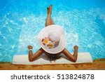 young woman in big white hat... | Shutterstock . vector #513824878