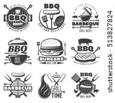 monochrome barbecue and grill... | Shutterstock .eps vector #513827824