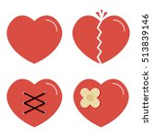 Flat Design Cartoon Red Heart...