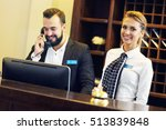 picture of two receptionists at ... | Shutterstock . vector #513839848