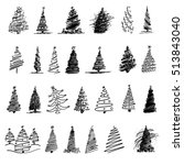 stickers of stylized christmas... | Shutterstock . vector #513843040