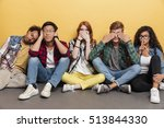 group of amusing playful young... | Shutterstock . vector #513844330