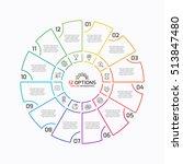 Thin Line Pie Chart Infographi...