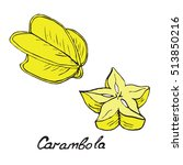 carambola and sliced piece ... | Shutterstock .eps vector #513850216