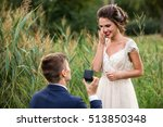 young man makes a proposal to... | Shutterstock . vector #513850348