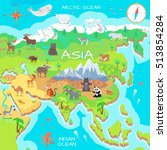 asia mainland cartoon map with... | Shutterstock .eps vector #513854284
