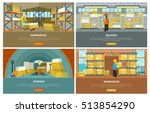 warehouse interior  storage and ... | Shutterstock .eps vector #513854290