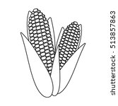 Sweet Corn Icon In Outline...