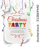 christmas party poster template ... | Shutterstock .eps vector #513869440