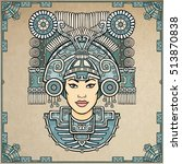 pagan goddess. motives of art... | Shutterstock .eps vector #513870838