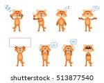 set of cartoon fox characters... | Shutterstock .eps vector #513877540
