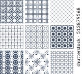 vector set of seamless patterns.... | Shutterstock .eps vector #513879568