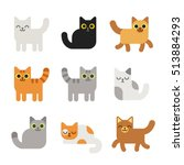 Different cartoon cats set. Simple modern geometric flat style vector illustration.