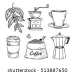 natural grain coffee vintage... | Shutterstock .eps vector #513887650