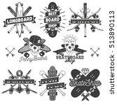 set of monochrome skateboard ... | Shutterstock . vector #513890113