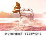 Silhouette Of A Wake Skater As...