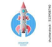 space rocket launch on blue...   Shutterstock .eps vector #513908740