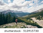 girl hiking at banff national... | Shutterstock . vector #513915730