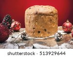 panettone on red background | Shutterstock . vector #513929644