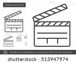 clapper board vector line icon... | Shutterstock .eps vector #513947974