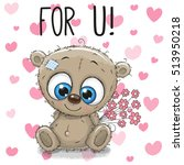 valentine card cute cartoon... | Shutterstock .eps vector #513950218