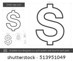 dollar sign vector line icon... | Shutterstock .eps vector #513951049