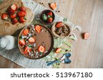 chocolate smoothie bowl with... | Shutterstock . vector #513967180