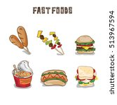food objects fast foods  | Shutterstock .eps vector #513967594